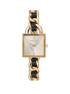 michael-kors-michael-kors-gold-square-prism-dial-gold-stainless-steel-and-black-leather-chain-link-bracelet-ladies-watch