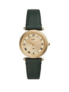 fossil-fossil-gold-dial-dark-green-leather-strap-ladies-watch