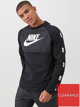 nike-hybrid-nylon-taped-long-sleeved-t-shirt-black