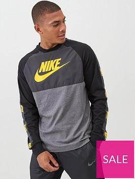 nike-hybrid-nylon-taped-long-sleeved-t-shirt-grey