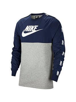 nike-hybrid-nylon-taped-long-sleeved-t-shirt-navy