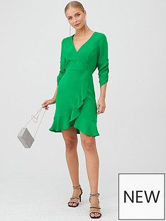 v-by-very-ruched-sleeve-wrap-mini-dress-green