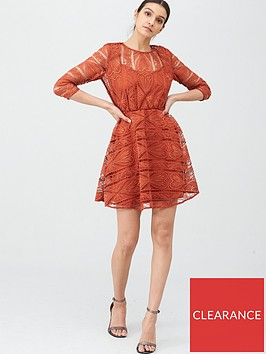 v-by-very-geo-lace-skater-dress-rust
