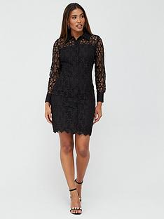 v-by-very-lace-short-shirt-dress-black
