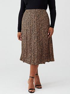 oasis-curve-animal-print-pleated-skirt-multi