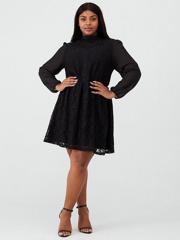 Chiffon Sleeve Lace Dress Black