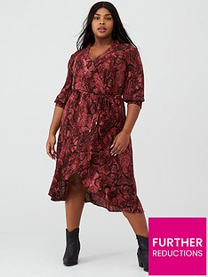 oasis-curve-snake-print-wrap-dress-multired