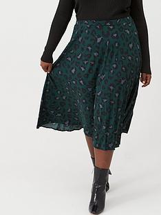 oasis-curve-animal-pleated-skirt-deep-green