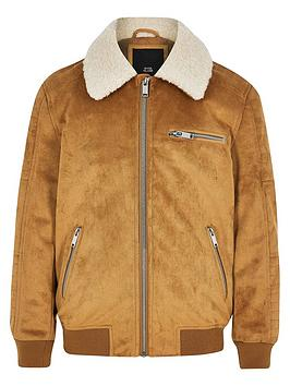 river-island-boys-faux-suede-borg-bomber-jacket-tan