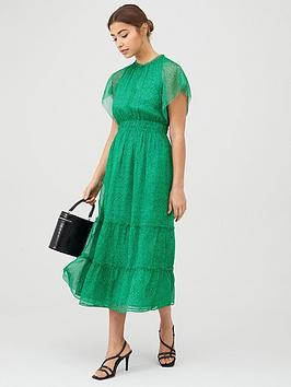 whistles-sketched-floral-frill-sleeve-dress-greenmulti