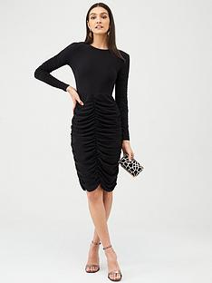 v-by-very-ruched-panels-midi-dress-black