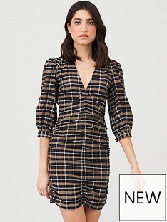 v-by-very-ruched-front-check-mini-dress
