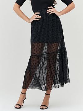 michelle-keegan-flock-spot-mesh-skirt-black