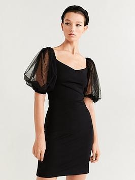 mango-dobby-puff-sleeve-dress-black