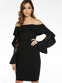 quiz-crepe-bardot-lace-frill-sleeve-midi-black