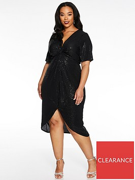 quiz-curve-sequin-knot-front-midi-dress-black
