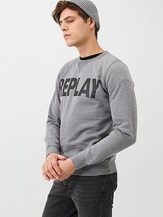 replay-logo-sweatshirt-grey