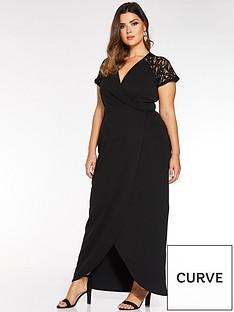 quiz-curve-quiz-curve-black-cap-sleeve-lace-wrap-maxi-dress