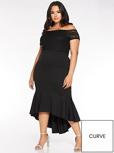 quiz-curve-lace-sleeve-bardot-midi-dress-black