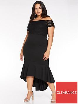 quiz-curve-lace-sleeve-bardot-midi-dress-black