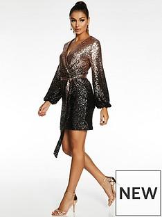 quiz-quiz-x-sam-faiers-wrap-front-sequin-balloon-sleeve-bodycon-dress