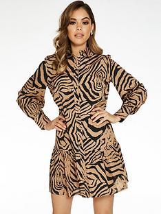 quiz-woven-tiger-print-tunic-button-through-dress-tanblack