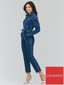 michelle-keegan-zip-front-puff-sleeve-denim-jumpsuit-indigo