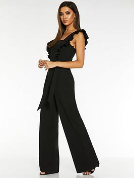 quiz-scuba-crepe-frill-tie-belt-palazzo-jumpsuit-black