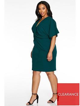 quiz-curve-knot-front-batwing-midi-dress