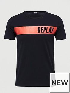 replay-foil-logo-t-shirt-black