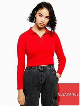 topshop-petite-button-front-polo-shirt-red