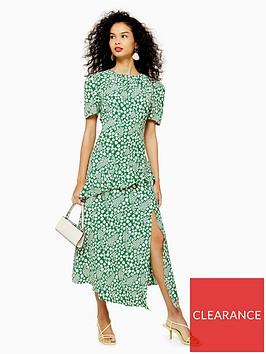 topshop-floral-split-ruffle-midi-dress-green
