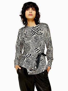topshop-animal-print-tie-side-blouse-mono