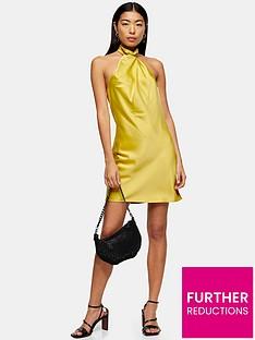 topshop-satin-halter-neck-mini-dress-mustard