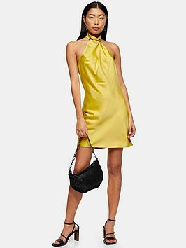 topshop-satin-halter-neck-mini-dress-mustard