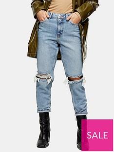 topshop-topshop-petite-double-rip-mom-jeans-bleached