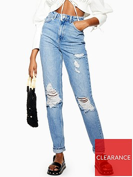 topshop-tall-rip-mom-jeans-bleached