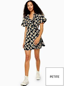 topshop-petite-daisy-ruffle-wrap-mini-dress-black
