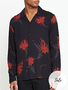 allsaints-arboretum-floral-cuban-collar-shirt-blackred