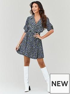 michelle-keegan-button-detail-printed-tea-dress