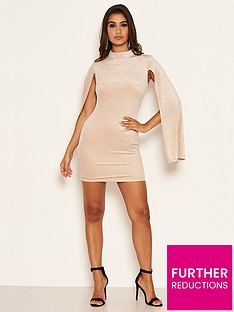 ax-paris-petite-long-split-sleeved-sparkle-bodycon-dress-champagnenbsp