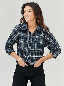 michelle-keegan-oversized-check-boyfriend-shirt-navycheck