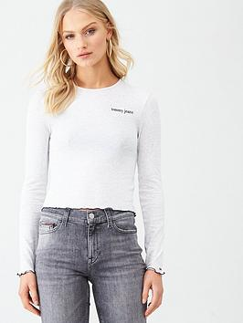 tommy-jeans-logo-detail-long-sleeve-top-oatmeal