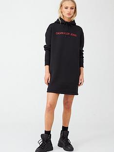 calvin-klein-jeans-shiny-scuba-hooded-dress-black