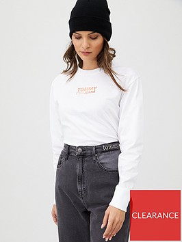 tommy-jeans-metallic-logo-long-sleeve-top-white