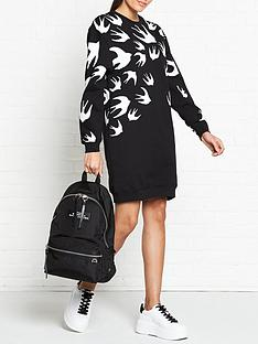 mcq-alexander-mcqueen-swallow-print-sweater-dress-black