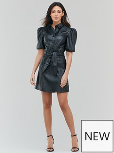 michelle-keegan-faux-leather-mini-shirt-dress-black