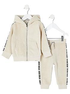 river-island-mini-kids-borg-zip-hoodie-and-jog-pant-set-cream
