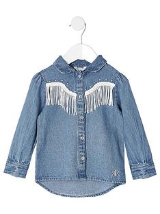 river-island-mini-mini-girls-tassel-fringe-denim-shirt-blue
