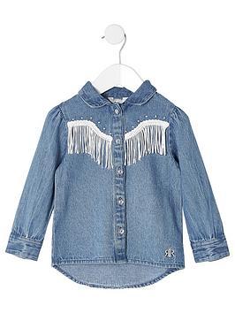 river-island-mini-mini-girls-tassel-fringe-denim-shirt-blue